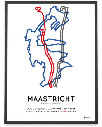 2021 Ironman 70.3 Maastricht route poster
