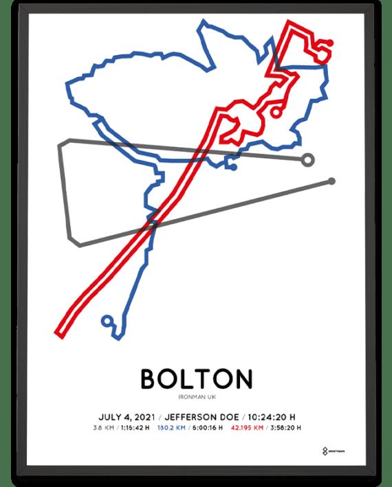 2021 Ironman Bolton coursemap print