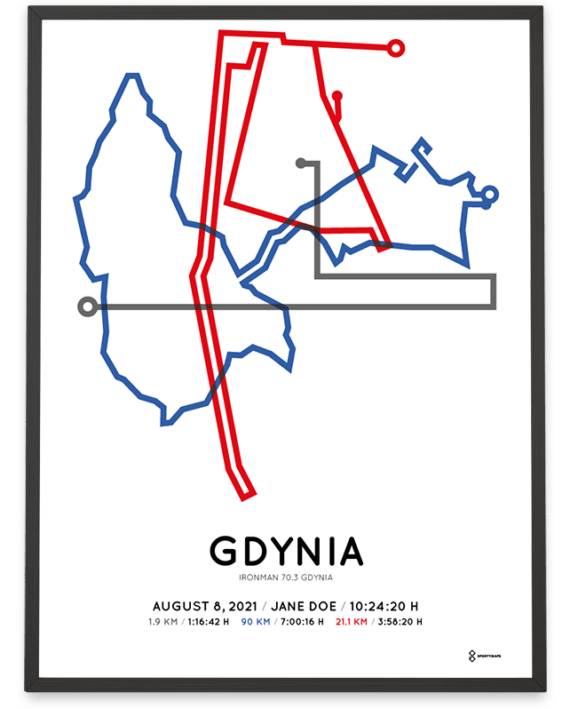 2021 Ironman 70.3 Gdynia course poster