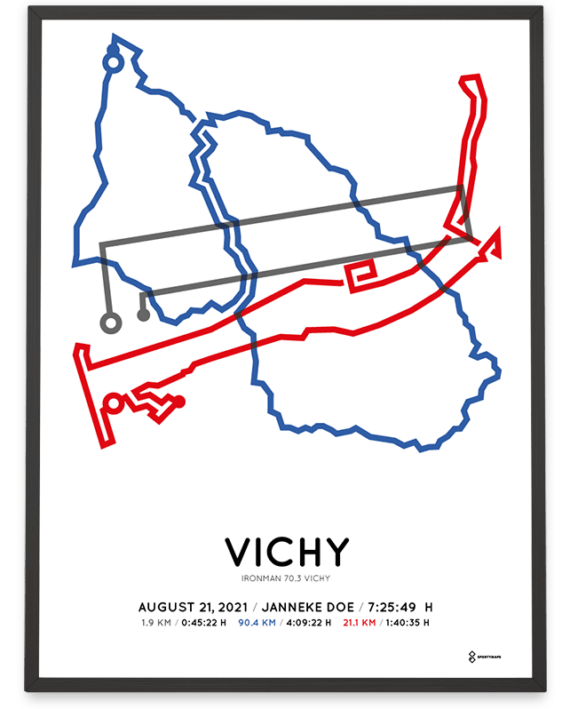 2021 Ironman 70.3 Vichy parcours poster