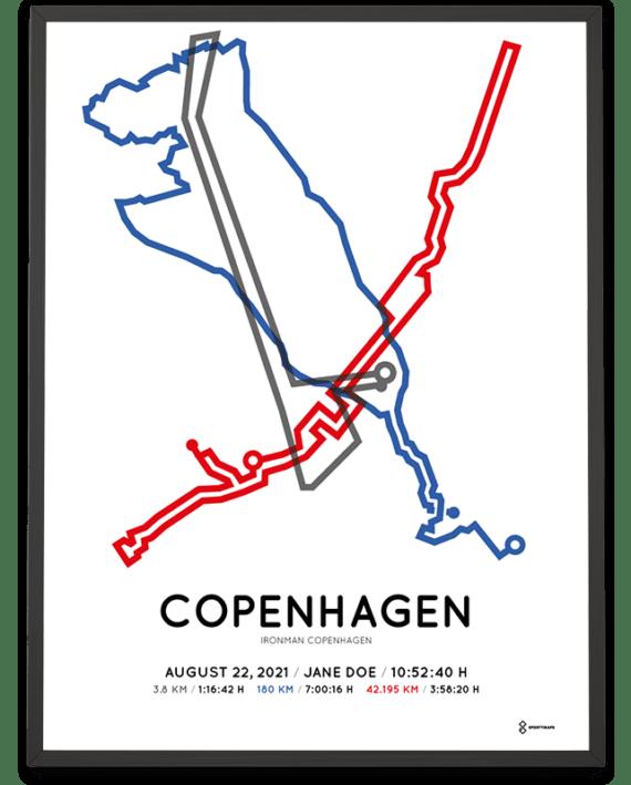 2021 Ironman Copenhagen Sportymaps course poster