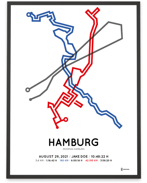 2021 Ironman Hamburg Sportymaps Strecke poster