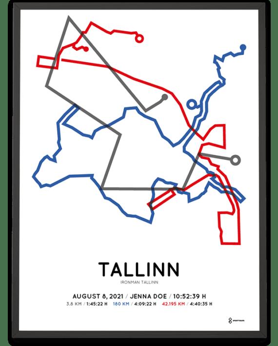 2021 Ironman Tallinn course poster by Sportymaps