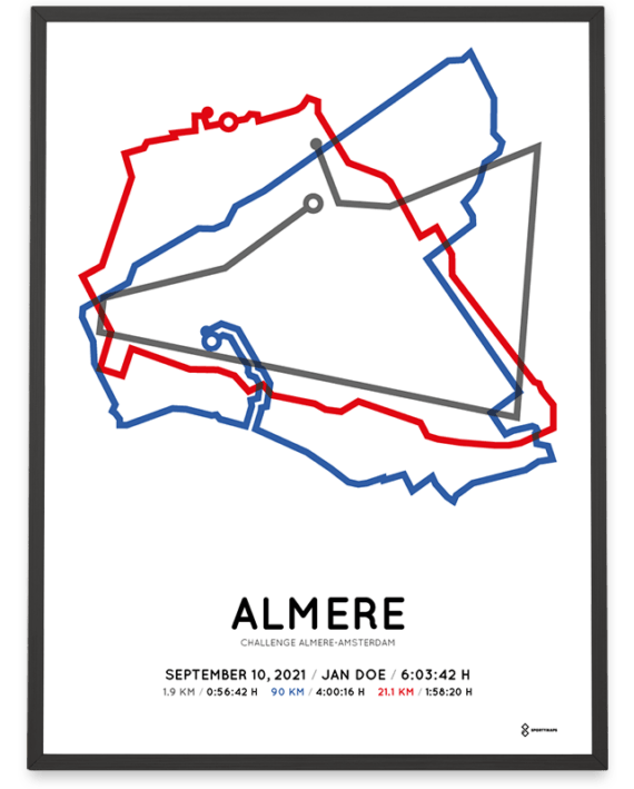 2021 Challenge Almere-Amsterdam middle distance route poster