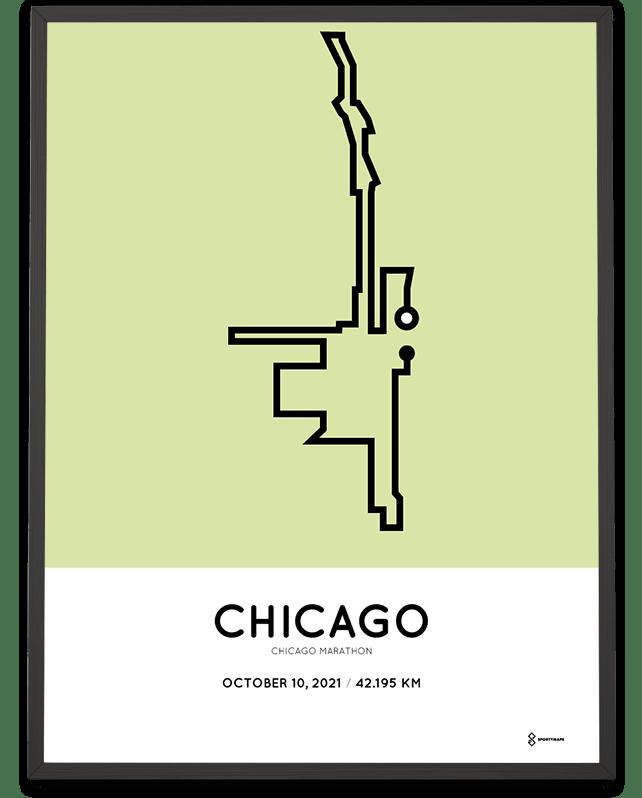 2021 Chicago Marathon strecke poster