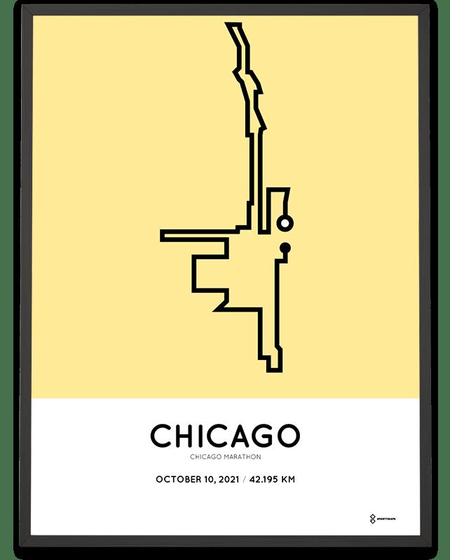 2021 Chicago marathon parcours print