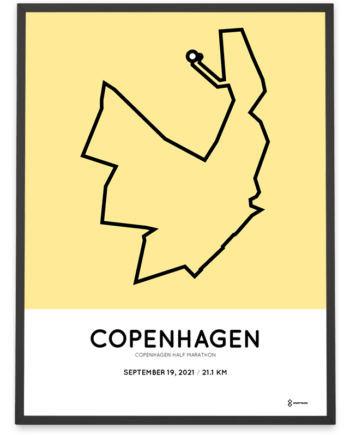 2021 Copenhagen half marathon course poster