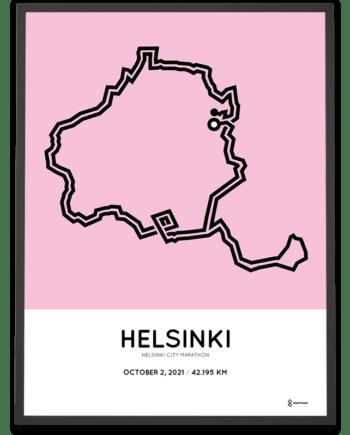 2021 Helsinki City Marathon October course poster