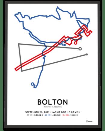 2021 Ironman 70.3 Bolton course poster