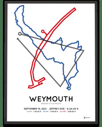 2021 Ironman 70.3 Weymouth Sportymaps course poster