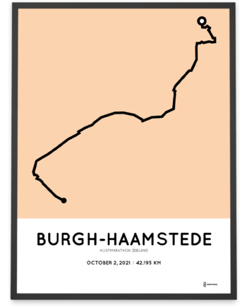 2021 Kustmarathon Zeeland parcours poster