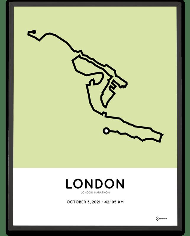 2021 London Marathon racetrace print