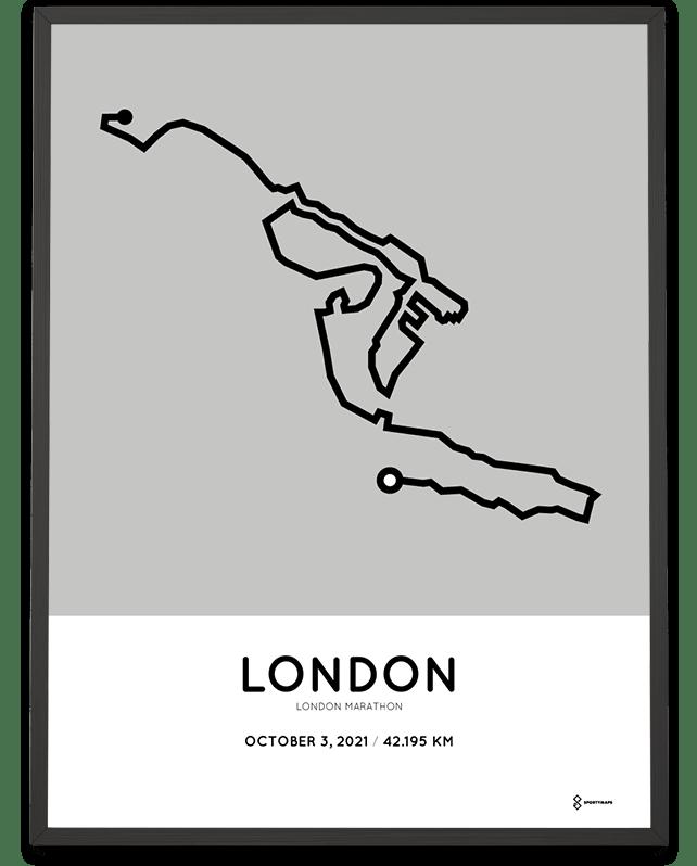2021 London Marathon Sportymaps course print