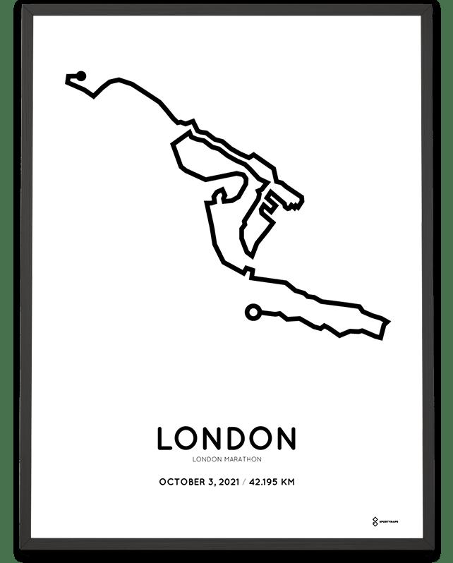 2021 London Marathon parcours print