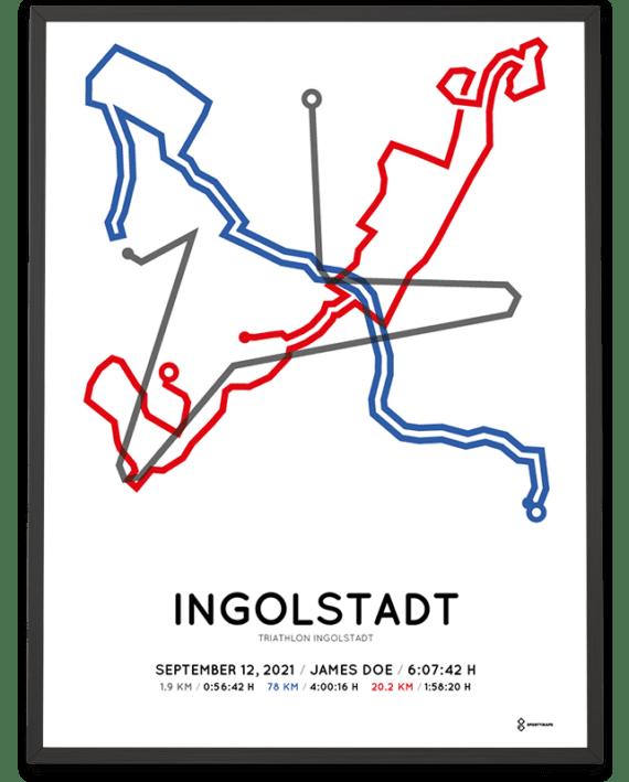 2021 Triathlon Ingolstadt middle distance strecke poster