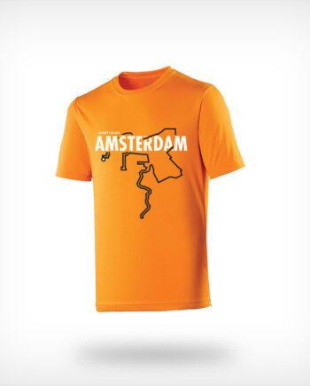 Marathon Amsterdam running shirt man orange