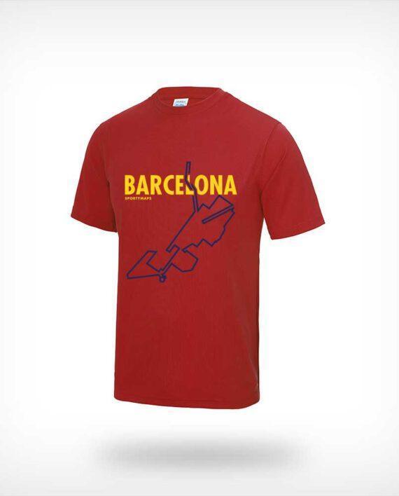 Barcelona Marathon Sportymaps running shirt man red