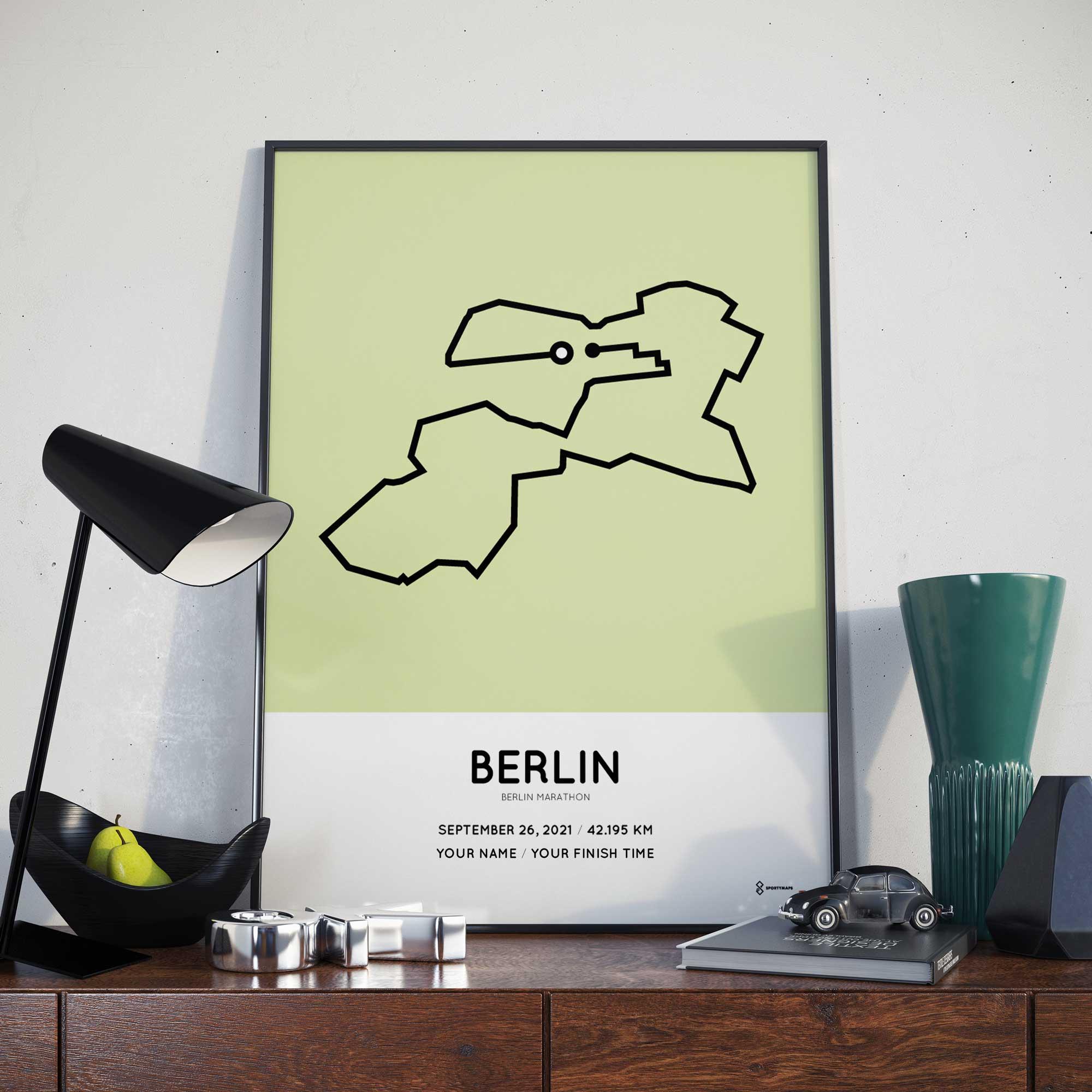 2021 Sportymaps Berlin marathon course poster green