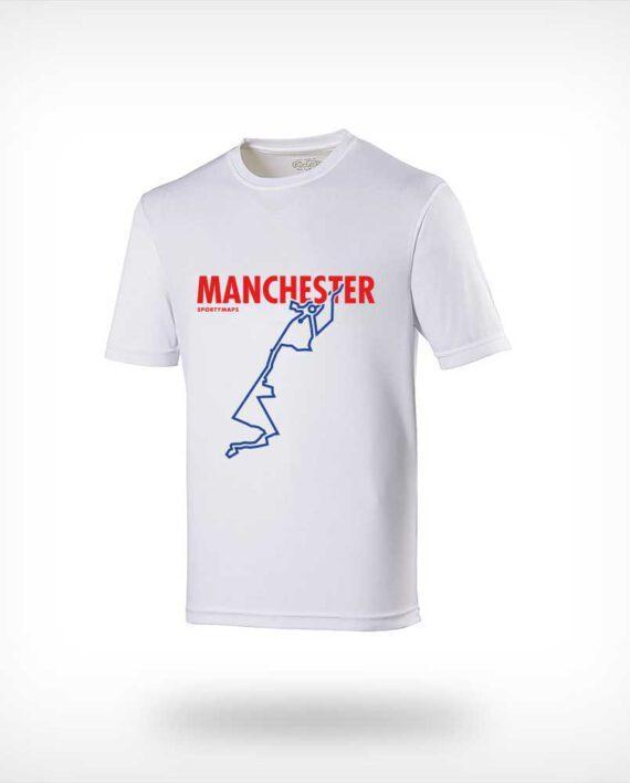 Manchester marathon course running shirt Sportymaps man