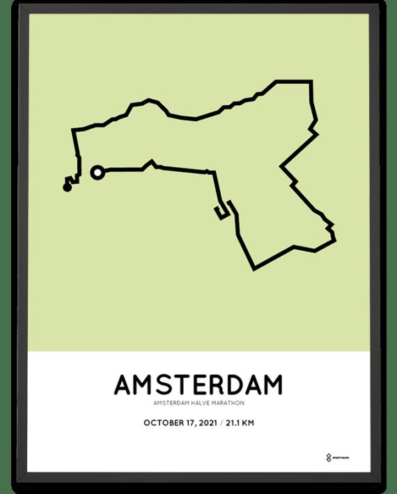 2021 Amsterdam half marathon Sportmap course poster
