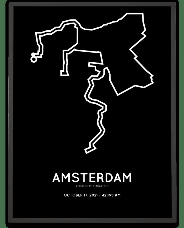 2021 Amsterdam marathon parcours poster