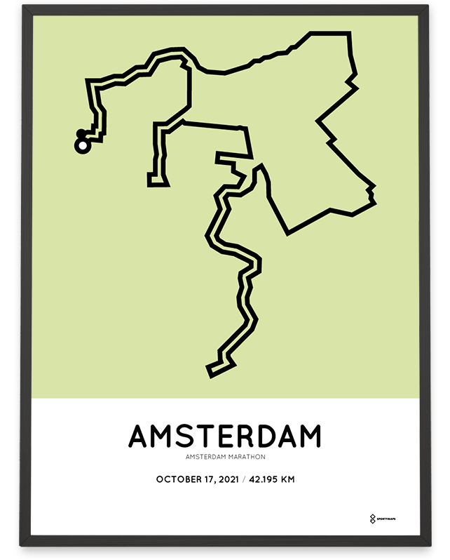 2021 Amsterdam marathon course poster