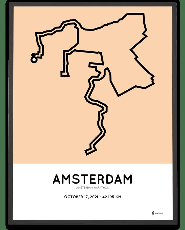 2021 Amsterdam marathon course print
