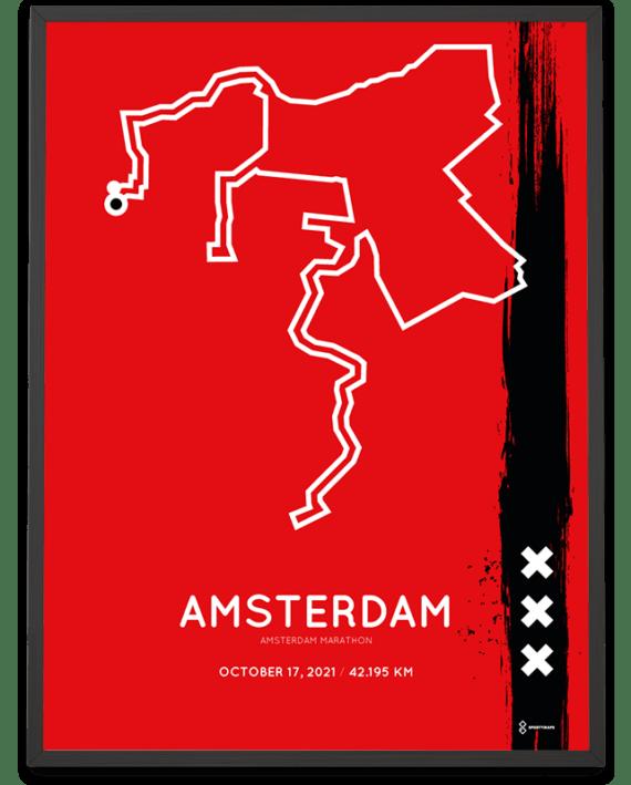 2021 Amsterdam marathon special edition Sportymaps parcours poster