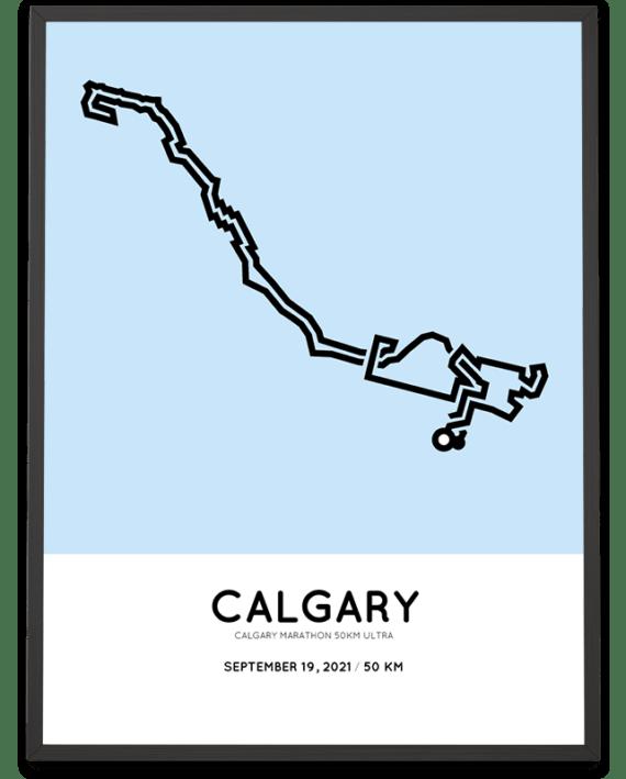 2021 Calgary marathon 50km ultra course poster
