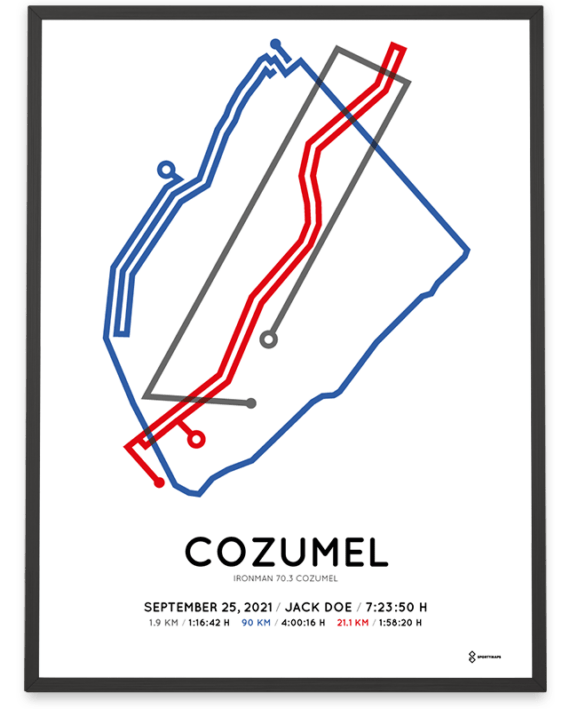 2021 Ironman 70.3 Cozumel coursemap print