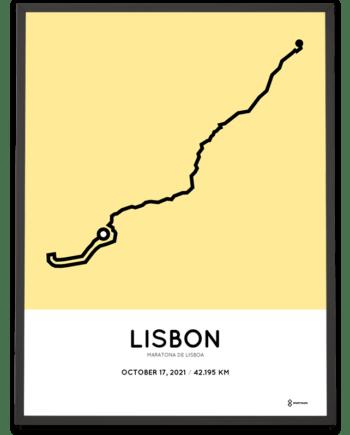 2021 Lisbon marathon routemap poster