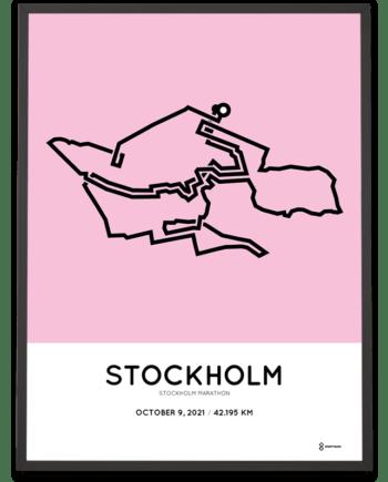 2021 Stockholm marathon course poster